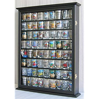 Large Shot Glass/Shooter Display Case Cabinet Rack Holder Wall Curio Cabinet, Mirror Back-Black Finish (SC13-BL)