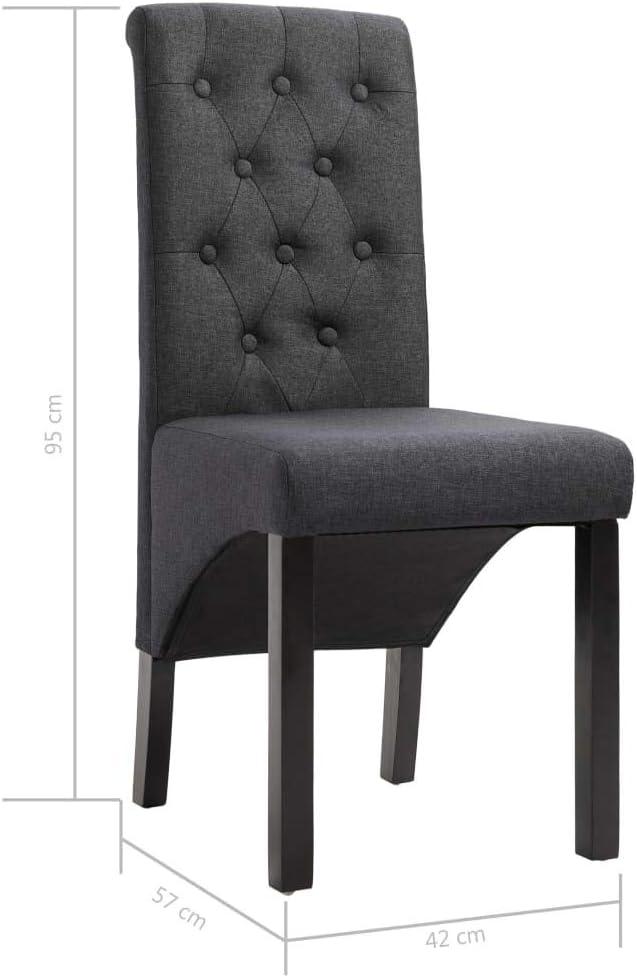 Tidyard Lot de 2 Chaises de Salle à Manger en Tissu Durable et Confortable Style Moderne Bleu Gris Foncé
