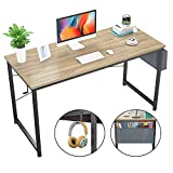 Foxemart Computer Desk 47' Office Desks Writing Study Desk Modern Simple PC Laptop Notebook Table with Storage Bag and Iron Hook for Home Office Workstation, Natural