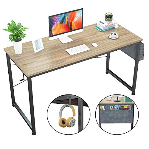 "Foxemart Computer Desk 47"" Office Desks Writing Study Desk Modern Simple PC Laptop Notebook Table with Storage Bag and Iron Hook for Home Office Workstation, Natural"