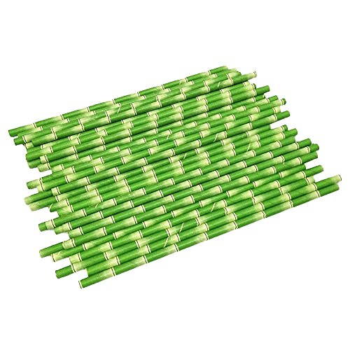 bjduck99 25Pcs/Set Bamboo Paper Drinking Straws Wedding Birthday Party Decoration Favors - Green