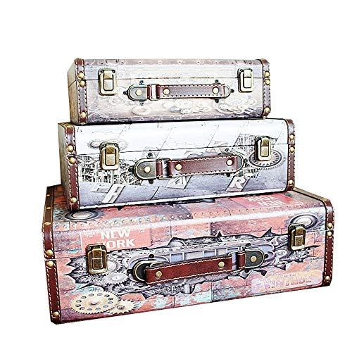 Decorative Box Antique Box Home Shooting Props Vintage Decorative Suitcases for Storage and Decoration Set of 3 Storage Boxes (Color, Size : 3 PCS)