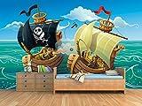 Fotomural Vinilo para Pared Batalla Naval | Fotomural para Paredes | Mural | Vinilo Decorativo | Varias Medidas 100 x 70 cm | Decoración Habitaciones | Infantiles