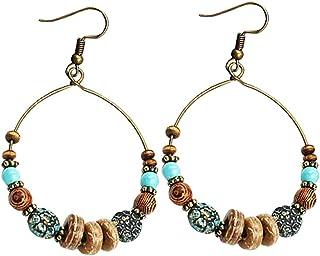 Metal Color : 1 LZL Boucles doreilles for Les Femmes Vintage Tribal Anneaux Oreille g/éom/étrique Ethnique Plume Goutte Dangle Boucles doreilles