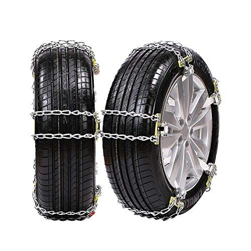 GUHAIBO Snow Chains for Car Tires, Adjustable Emergency Premium Quality Snow Thrower Anti-Slip Tire Chains,Heavy-Duty,205-225mm/8.0-8.7in