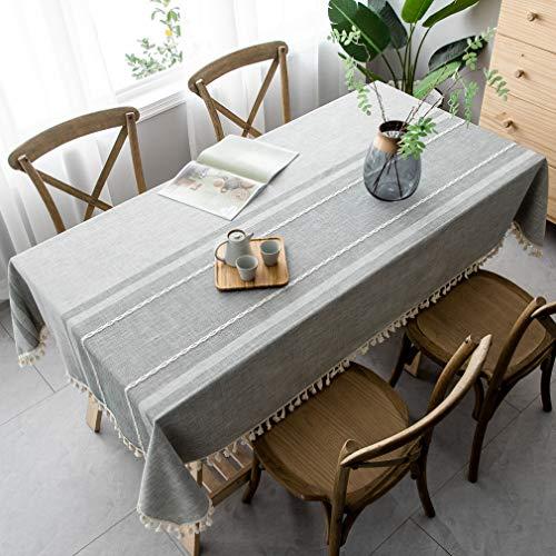 Pahajim Baumwolle Leinen Elegante Tischdecke Waschbare Küchentischabdeckung für Speisetisch Picknick-Party Tischdecke(Asymmetrie - grau, Rechteckig/Oval, 140 x 180 cm)