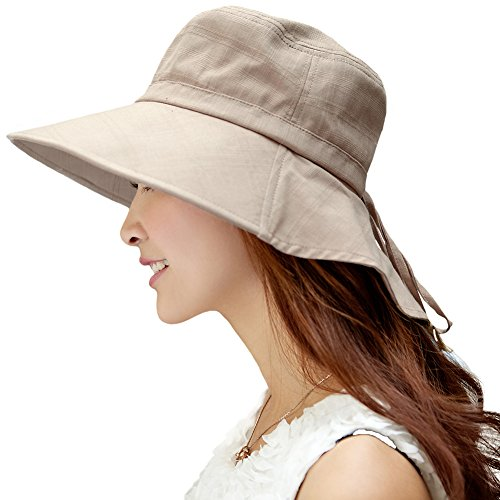 Comhats Mujer Sol Verano Algodón Sombrero De ala Ancha Tapa Abatible UPF 50 + Barbilla Manera Gorro Caqui M