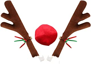 QZYL Car Reindeer Christmas Antlers and Rudolph Nose,Jingle Bell Costume Auto Decoration Set (2 Antlers and 1 Reindeer Nose)