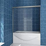 SUNNY SHOWER Glass Sliding Shower Door for Bathtub 60 W x 57.4 H inches Double...