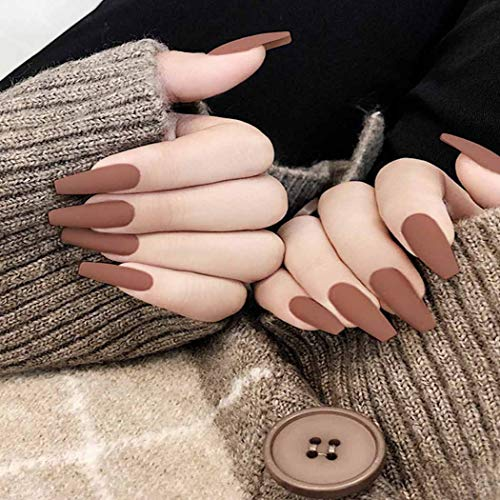 Boaccy Matte Press on Nails Brown Long Coffin Fake Nails Acrylic Full Cover False Nails Art Ballerina Clip on Nail Tips for Women and Girls (24Pcs) (Brown)
