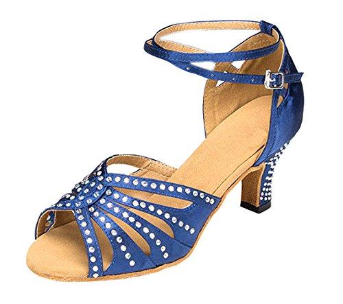 Honeystore Neuheiten Frauen\'s Funkelnde Glitzer Heels Sandalen Latin mit Knöchelriemen Tanzschuhe Blau 43 CN