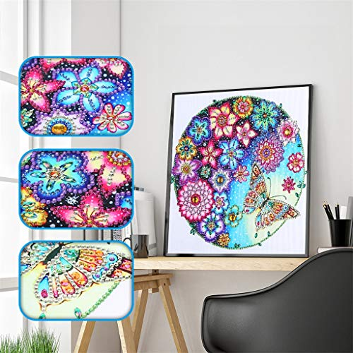 DIY 5D Diamond Painting Flowers Butterfly by Number Kit, Painting Cross Stitch Full Drill Special Shaped Crystal Rhinestone Embroidery Pictures Arts Craft for Home Wall Decor Gift, (11.8 x 11.8 in)