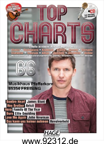 Top hit-parades 66incl. James Blunt Bonfire Heart, Avicii Hey Brother, John Newman Love Me Again, revolver Held, Ellie Goulding Burn, Family Of The Year