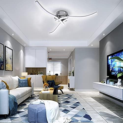 TYCOLIT - Plafón led, lámpara de techo, en forma de ola, led integrada, 18 W, 2400 lm, lámpara moderna para salón o cocina, 220 V (36 W regulable)