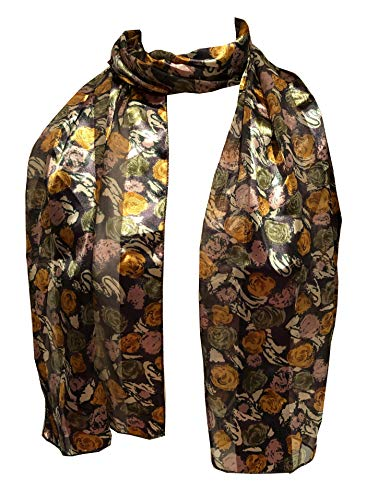 Pamper Yourself Now Gris avec Jaune, Vert et Beige Petites Roses écharpe. Jolie écharpe Mince. Cadeau Fantastique. (Grey with Yellow, Green and Beige Small Roses Scarf Shiny Thin Pretty Scarf)