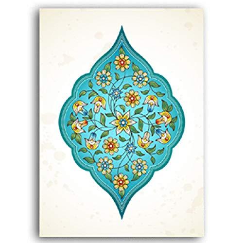 Wunderschöne Arabesque Türkis Blume Wandkunst Leinwand Malerei Poster Drucke Wohnzimmer Home Decoration 50x70cm