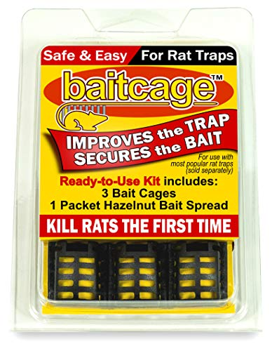 Bait Cage Kit for Rat Traps – Makes Traps Extremely Effective – 3 Pack Includes Cup of Hazelnut Bait – for Victor Brand and Similar Rat Traps with Bait Pedal – Safe, Easy, Non-Toxic
