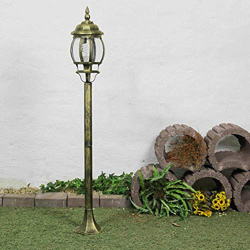 Rustikale Standleuchte in antikgold gewischt inkl. 1x 12W E27 LED Wegeleuchte aus Aluminium Glas Stehlampe für Garten Terrasse Weg Lampe Leuchten Beleuchtung
