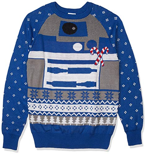 Star Wars Men's Ugly Christmas Sweater, R2D2 Candy Canes/Blue, X-Large