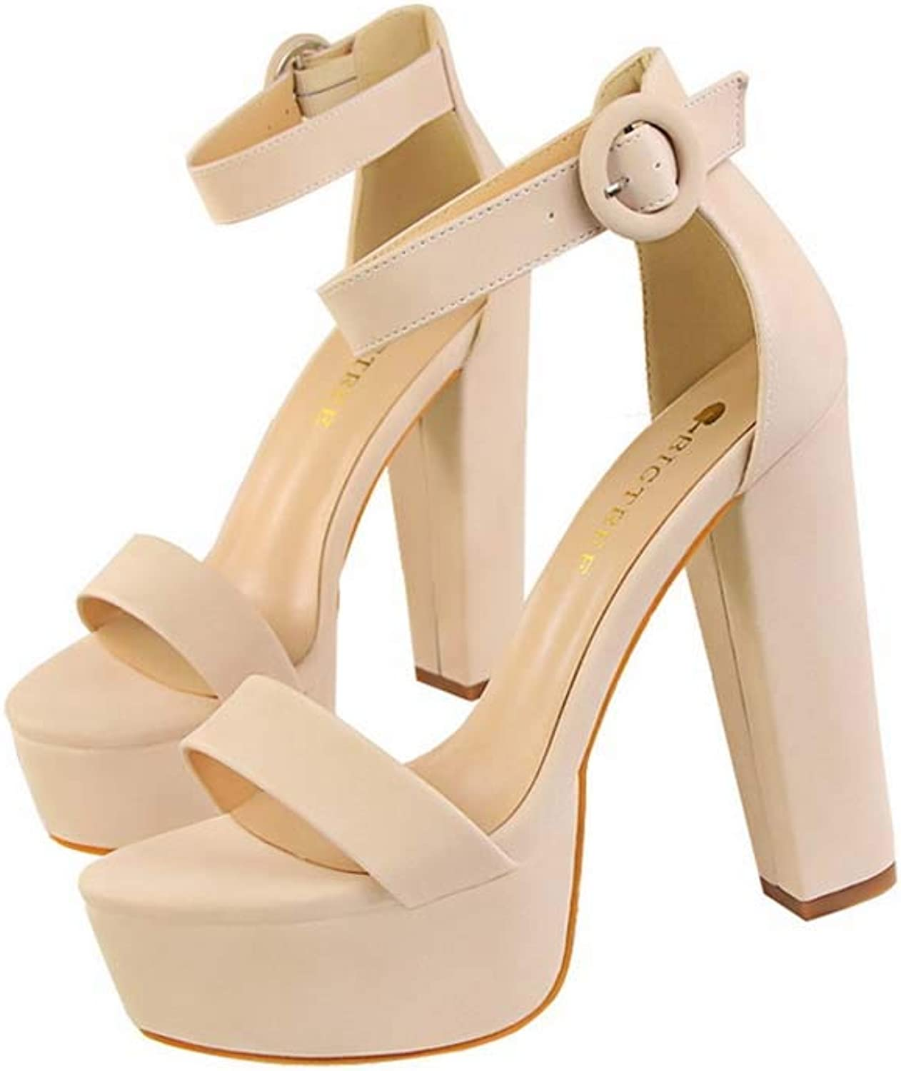 Womens Ankle Strap Open Toe Sandals,Ladies Block Heels Stiletto High Heel Strappy Buckle Prom Party shoes Size