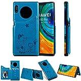 Miagon Flip Cover per Huawei Mate 30 Pro,Goffratura Gatto Ape Libro Portafoglio Pelle Case con Funzione Supporto e Porte Carte Chiusura Pieghevole Custodia,Blu