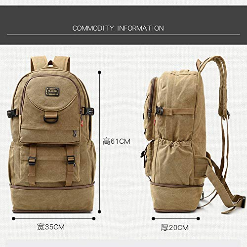 Backpack,Mountaineering Trekking Outdoor Sports Backpack,Travel Hiking Extra Large Casual Daypack,Canvas Men Women-Army Green 35x20x61cm(14x8x24inch)