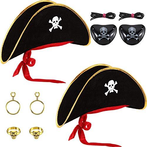 6 Piezas Disfraz de Sombrero de Pirata Con Estampado de Calavera Gorra de Capitán de Pirata con Parche en El Ojo y Pendiente de Pirata de Plástico para Halloween Masquerade Party Cosplay Hat Prop