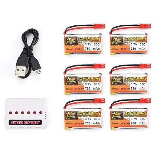 Eletam 6Pcs 3.7V 750mAh 30C JST Plug Lipo Batería Recargable con Cargador USB de batería 6 en 1 para RC Racing Drone Car