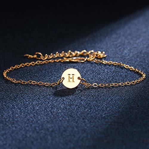 JIACUO Letra del Alfabeto Pulsera de Disco Inicial Pulsera Personalizada de Oro de la A a la Z