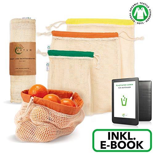 Vatum Obst- und Gemüsebeutel - 3er Set Einkaufsnetze aus Bio-Baumwolle (GOTS) inkl. E-Book - Wiederverwendbare Baumwollbeutel für EIN plastikfreies Leben - umweltfreundliches Gemüsenetz - Obstnetz