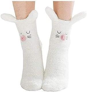 XLKJ, XLKJ Calcetines Invierno Mujer con Diseño de Conejo, Suave y Cómodos para Casa