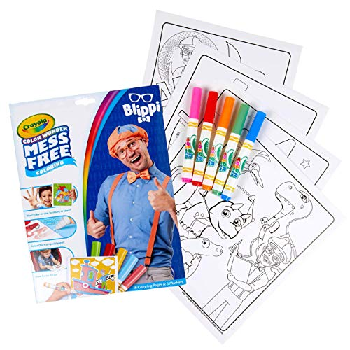Crayola Blippi, Color Wonder Mess Free Coloring Pages & Markers, Blippi Toys Alternative, Gift for Kids, Age 3, 4, 5, 6