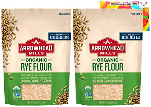 Arrowhead Mills Rye Flour Bundle. Includes Two (2) 20oz Packages of Arrowhead Mills Organic Rye Flour and a Rye Flour Recipe Card from Carefree Caribou!