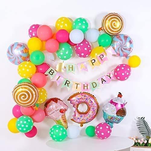 Helado Globo,Pancarta de Feliz Cumpleaños,Globo de Aluminio,Fiesta de Cumpleaños,Happy Birthday Bandera,Adornos Pastel Cumpleaños,Globo de Fiesta de Cumpleaños