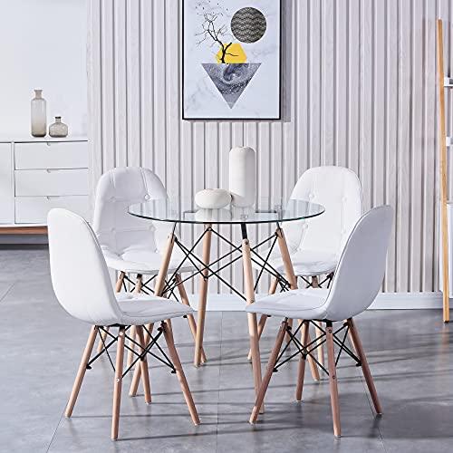 GrandCA HOME Esstisch mit 4 Stühlen Schminktisch Küchentisch Wohnzimmertisch Round Tisch Set für Küche Büro Restaurant/Weiß