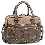 Lois - bolso de mujer pequeño con 2 asas largas y bandolera. cuero pu y lona bordada. para paseo compras o viaje. elegante. 304441 Color Marrón