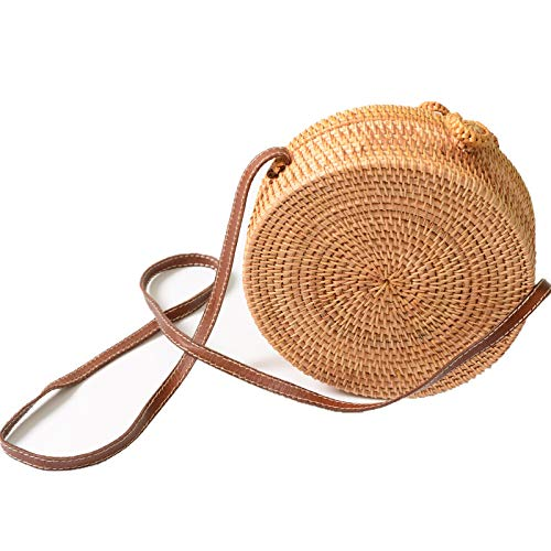 Via Moi Round Women Rattan Wicker Straw Weave Shoulder Bag Leather Vegan Strap Bow Hook