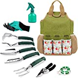 INNO STAGE Gardening Tools Set and Organizer Tote Bag with 10 Piece Garden Tools,Best Garden Gift Set,Vegetable Gardening Hand Tools Kit Bag with Garden Digging Claw Gardening Gloves-Rose
