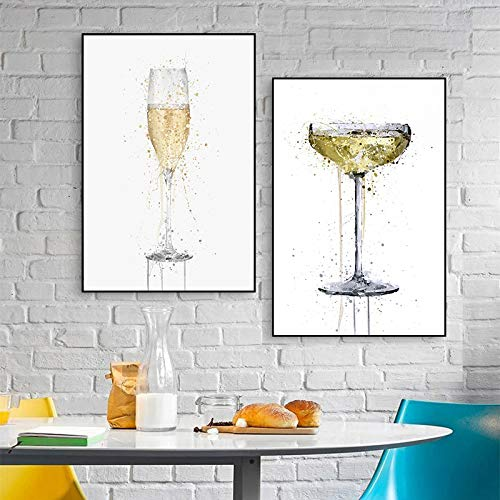 Gymqian Fashion Abstract Wine Glass Canvas Paintings Wall Art Pictures Poster Prints for Living Room Home Wall Decoration Mural 70x90cmx2 Frameless
