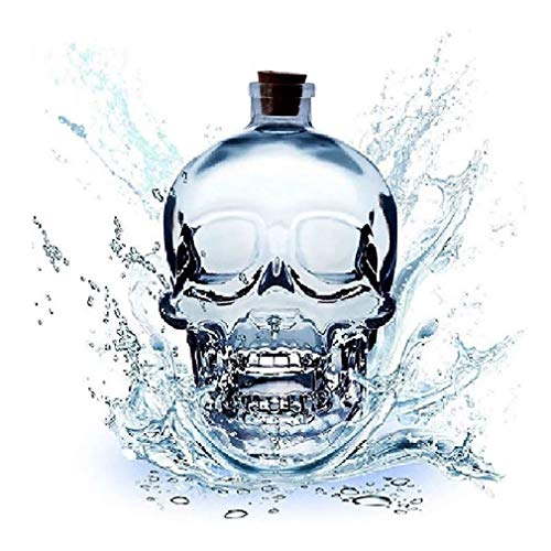 XBR Jarra de Vino Artesanal, Jarra de Whisky, Botella de Cristal de Cara Grande, Vidrio Espesado sin Plomo con Corcho, Whisky Resistente y Vaso de chupito de Vodka