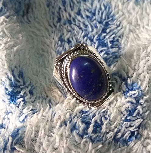 Size 6 Lapis Lazuli Silver Ring Crystal Rings Lapis Lazuli Jewelry Statement Ring Crystal Jewelry Semi-Precious Stone