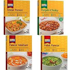 Ready to Eat Meals (4 Pack, 10 oz each) 1) Matar Paneer, 2) Paneer Makhani, 3) Punjabi Choley, 4) Palak Paneer Just Heat and Eat (Microwaveable in 2 Minutes) 100% Vegetarian, Halal Gluten Free, No Preservatives