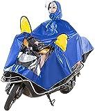 Ponchomen de Sombrero Doble para Adultos de Motocicleta eléctrica y Traje de Lluvia Individual Cubierta de Doble Cara Aumento de R, Azul Oscuro