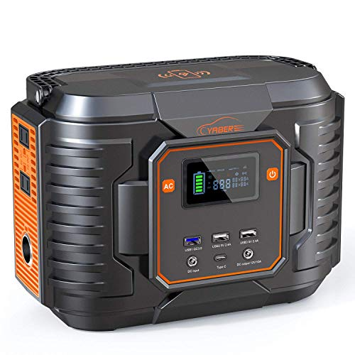 YABER 300W Portable Power Station,72000mAh 266Wh Outdoor Solar Generator with 110V AC,12V/10A DC,QC 3.0,Type C Port,Wireless Charger and LED Light,Backup Power Supply for Outdoor Camping Emergency