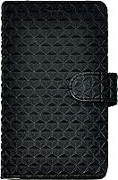 PLATA スマホを貼るだけ! スライド 式 マルチタイプ トライアングル レザー ケース ポーチ 手帳型 カバー iPhone5 5s / Xperia Z3Compact / Xperia A4 / AQUOS SERIE mini 【 ブラック 黒 くろ ぶらっく black 】