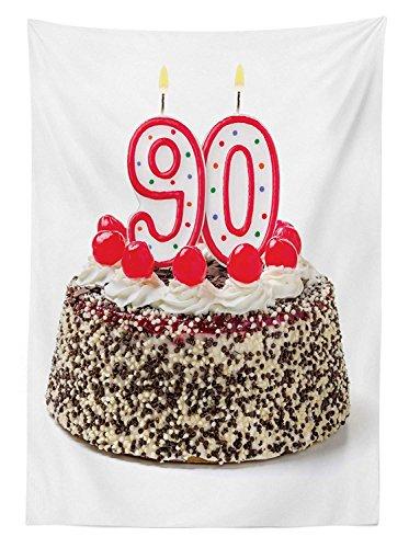 Yeuss Nappe d'extérieur pour 90e anniversaire, gâteau d'anniversaire avec de savoureuses cerises brûlant et chiffre 90 cm, nappe de pique-nique décorative lavable, rouge, marron blanc, 152 x 120 cm