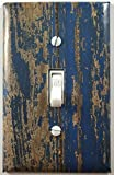 Blue Distressed Painted Wood Fence Decorative Light Switch Cover Wall Plate
