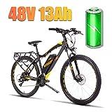 LYRWISHLY 27.5' Electric Trekking/Touring Bike, Elektro-Fahrrad mit 48V / 13Ah austauschbarer Lithium-Ionen Batterie, Elektro Trekkingrad for Touring (Color : Yellow)