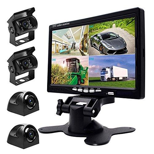 Podofo Kabel Rückfahrkamera und Monitor Set - 7 Zoll 4 Kanal Geteilter Bildschirm HD Monitor mit Vier Wasserdichten Nachtsicht Kameras für schwere LKW Busse Wohnmobil Landwirtschaft