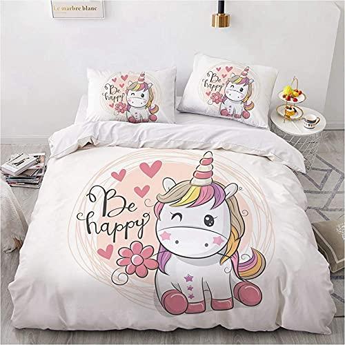 CXYXHW - Set copripiumino con motivo 3D unicorno, copripiumino per camera da letto, quattro stagioni, set di biancheria da letto per bambina, con federe (200 x 200 cm)